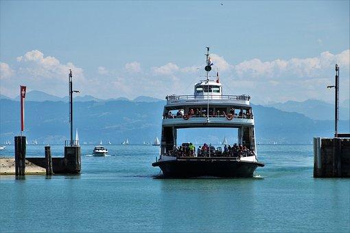 Ferry, Cruise, Swim, Lake, Bodensee, Water, Port, Beach