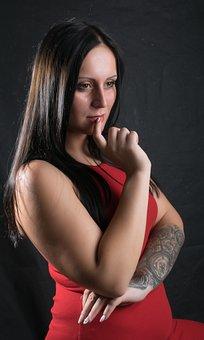 Woman, Red, Model, Beauty, Fashion, Women's, Tattoo