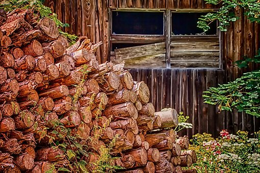 Nature, Holzstapel, Architecture, Barn, Old, Wood