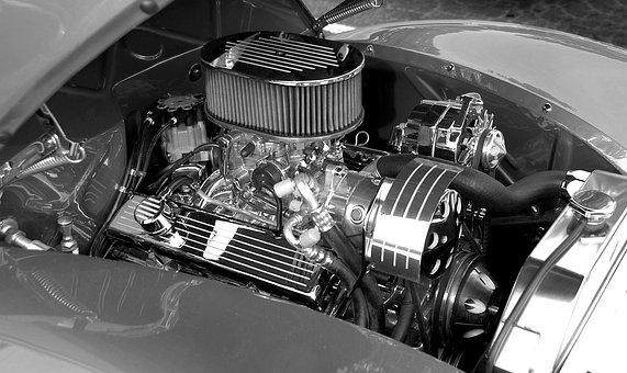 Customized Car Engine, Monochrome, Retro, Automobile