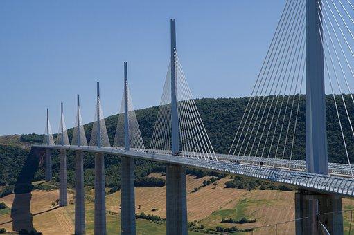 Bridge, Millau, Viaduct, Shrouds, Cables, Highway