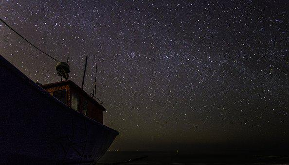 Celebrities, Stars, Milky Way, Sea, Ship, Beach, Cutter