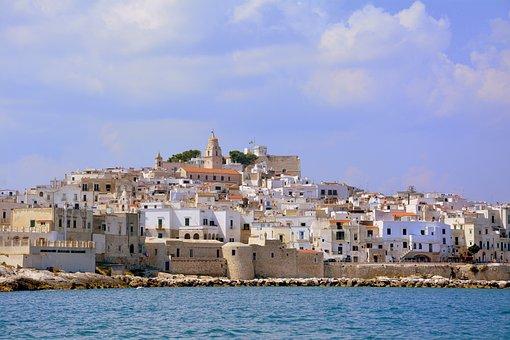 Houses, Promontory, Costa, Sea, Rock, Cliffs, Vieste