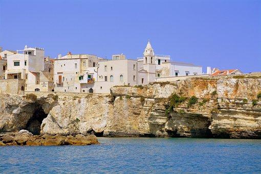 Houses, Campanile, Costa, Sea, Rock, Cliffs, Vieste