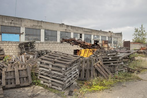 Plant, Construction, Pallets, Rusty Machinery, Wall