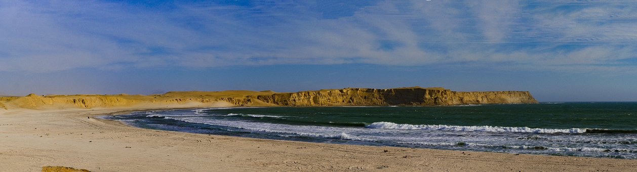 Cliff, Desert, Panorama, Pacific, Surf, Beach
