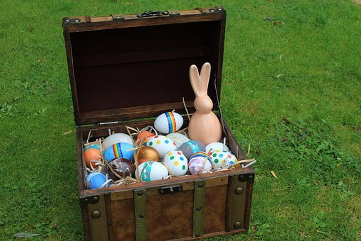 Eggs, Dyed, Rabbit, Bunny, Chest, Trunk, Treasure