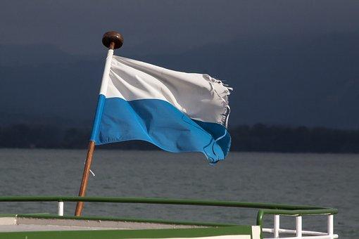 Flag, Blue, White, Sky, Flutter, Water, Forest, Ship