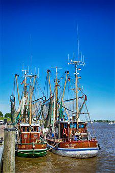 Greetsiel, Fishing Vessel, Port, Ship, Shrimp, Sun