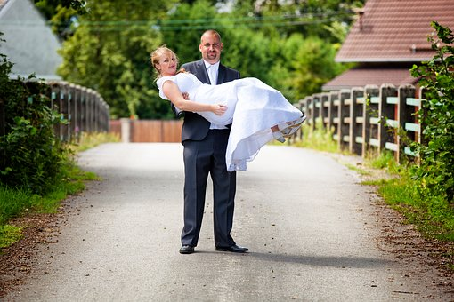 Wedding, Groom, Bride, Arms, Road, Bridge, Love, Couple