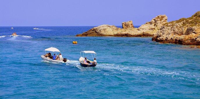 Boats, Tourists, Island, Sea, Water, Cliffs, Rock