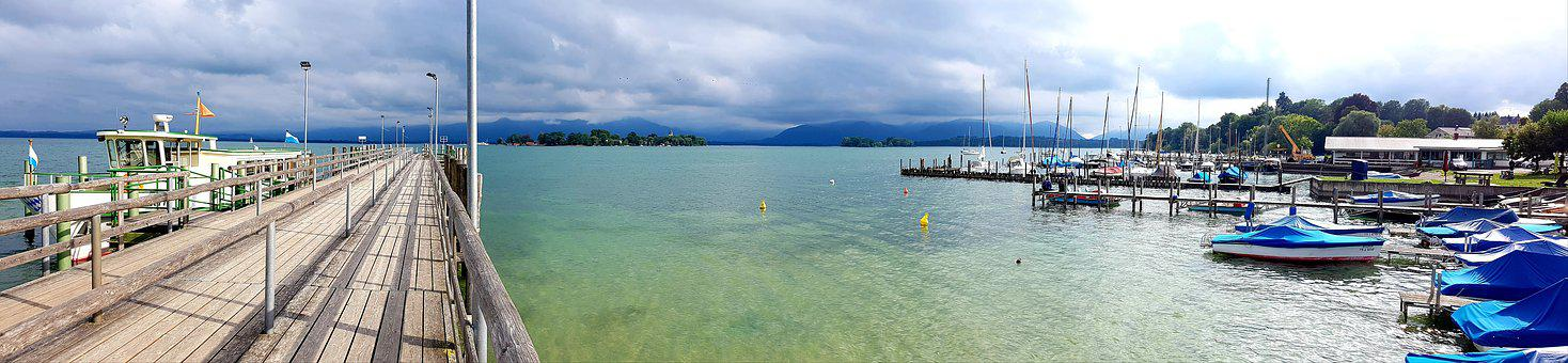 Jetty, Chiemsee, The Sail Messenger, Clouds, Alps