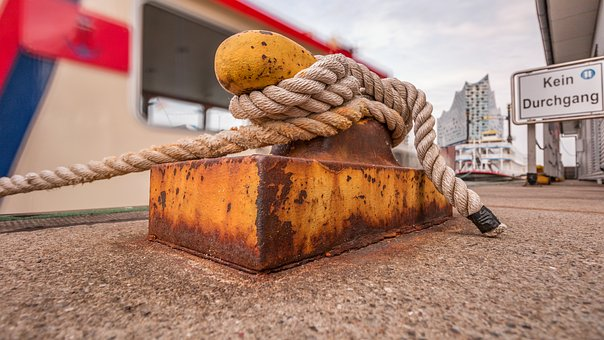 Port, Rope, Ship, Boat, Sea, Water, Knot, Dew, Pier