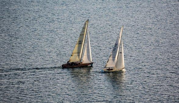 Boats, Lake, Regatta, Landscape, Sailboat, Ship