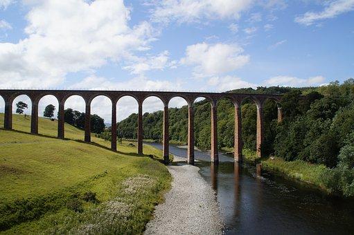Bridge, Viaduct, Scotland, Architecture, Landscape