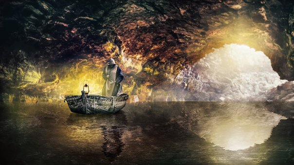 Cave, Monk, Boat, Lantern, Water, Reflection, Weird