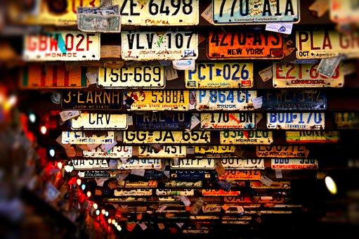 License Plates, Ceiling, Bar, Key West, Florida