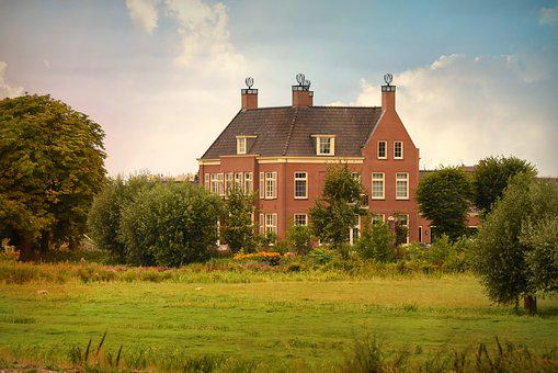 Manor, House, Residence, Property, Field, Tree, Garden