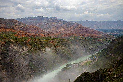 River, Mountain, Fog, Foggy, Landscape, Nature, Water
