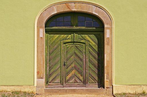 Entrance Door, Door, Green Front Door, Ornament