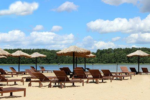 Beach, Plant, Sun Loungers, Parasols, Vacations, Sand
