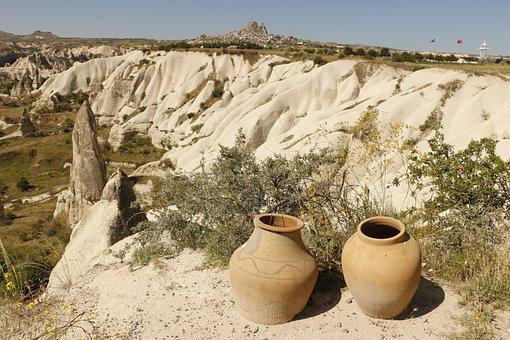 Pots, Valley, Rock Formation, Cappadocia, Göreme