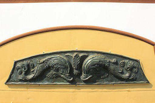 Dolphins, Relief, Bronze, Ornament, Steamer, Ship
