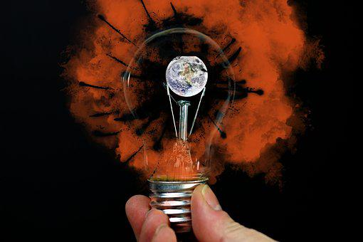 Light Bulb, Earth, Warming, Risk, Fire, Universe, Hand