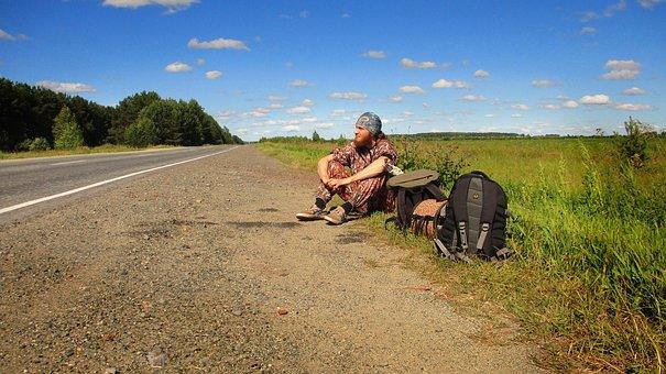 Road, The Way, Track, Traveler, Forest, Field, Shoulder