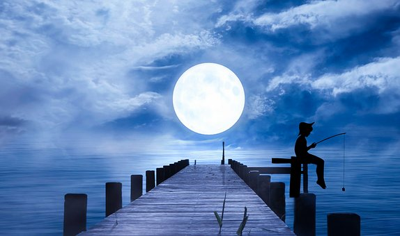 Fisherman, Moon, Sea, Falling, Fishing, Night, Water