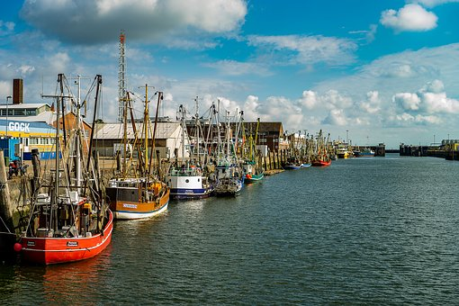 Port, Travel, Cuxhaven, Water, Sea, Sky, Vacations