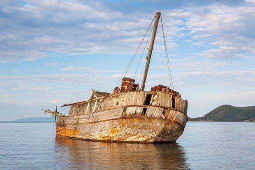 Ship, Shoal, Sunken, Sea, Wreck, The Abandoned, Ocean