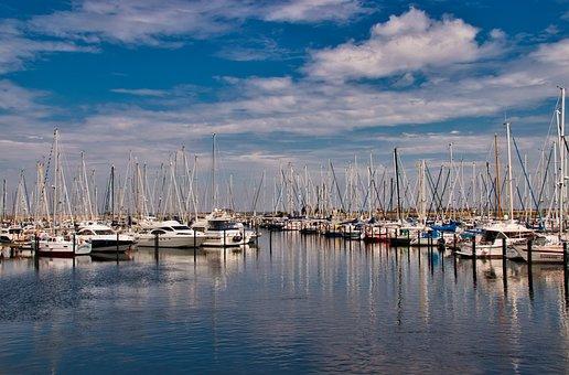 Marina, Port, Ships, Yacht, Sky, Water, Vacations