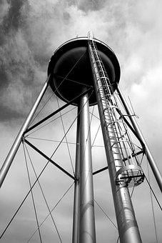 Water Tower, Tank, Storage, Sky, Industrial, Structure