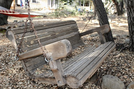 Swing, Bench, Old, Forest