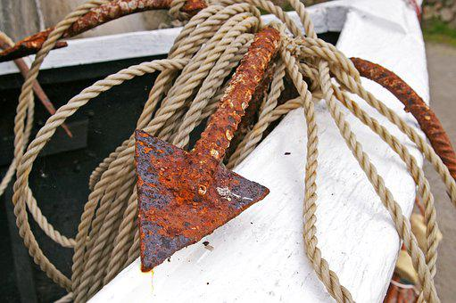 Anchor, Dew, Rope, Rusty Anchor, Ship, Port, Water, Sea