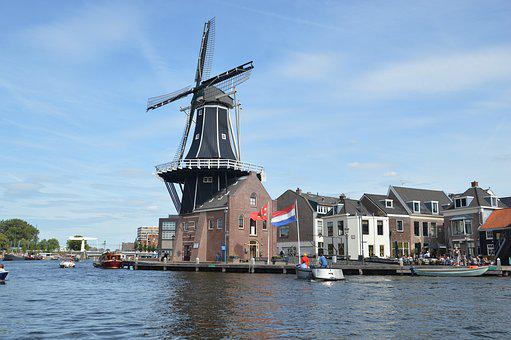 Holland, Windmill, Mill, Water, Building, Dutch
