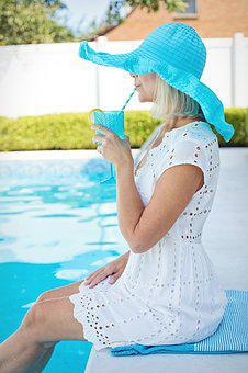 Woman, Poolside, Drinking, Cold Drink, Summer, Female