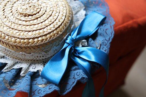 Hat, Blue, Vintage, Girl, Portrait, Summer, Young