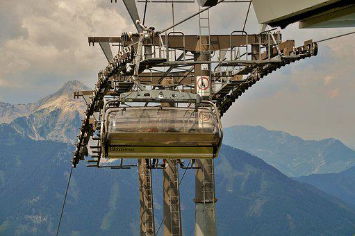 Cableway, Exit, Mountain, Alpine, Alps, Seater, Bubble