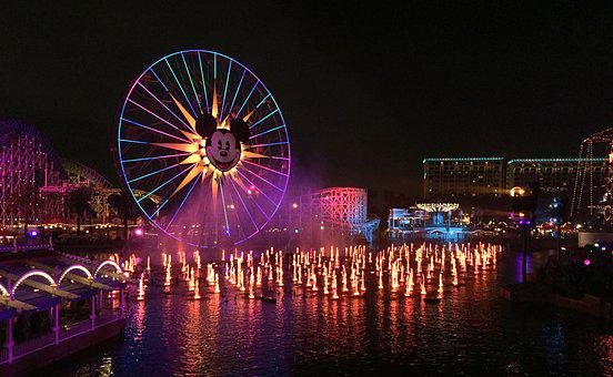 California Adventure, Disneyland, Light Show, Nighttime