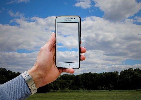 Mobile Phone, Display, Screen, Camera, Sky, Clouds