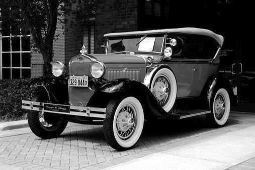 Vintage Car, Retro, Monochrome, Car Show