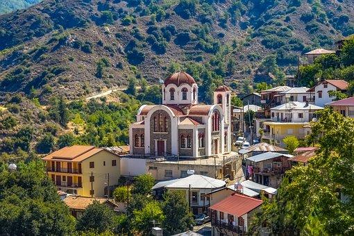 Cyprus, Moutoullas, Village, Church, Mountain