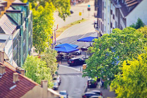 Road, Parasols, City, Urban, House, Cafe, Restaurant