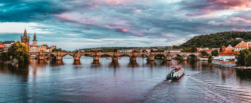 Prague, Czech Republic, Sunset, City, Charles Bridge