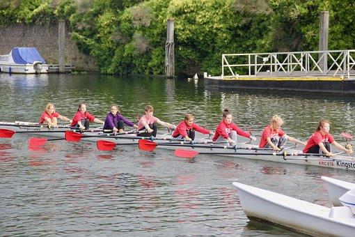 Team, Teamwork, Punting, Thames, Together, Cooperation