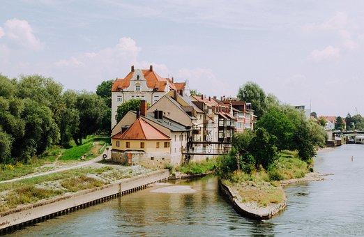 Danube, Regensburg, Houses, Water, Germany, River, City