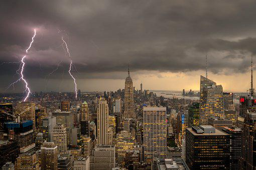New York, Thunderstorm, Evening, Sky, Clouds, Weather