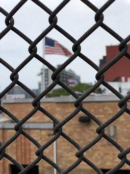Fence, Flag, America, Freedom, American, July, Nation